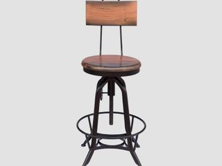 Natural Finish Black  Clarkson Modern Industrial Acacia Wood Bar Stool by Christopher Knight Home  Retail 154 99
