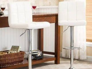 Porch   Den Galena Upholstered Chrome Adjustable Bar Stools  Set of 2  Retail 118 49