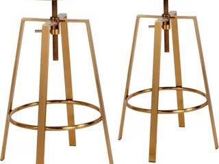Kinwell Gold  33  Metal Adjustable Height Swivel Bar Stool  Set of 2  Retail 214 99
