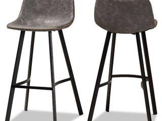 Set of 2 Tani Faux leather Upholstered Metal Barstools Gray Black   Baxton Studio