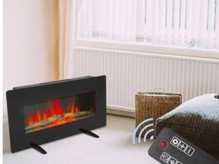 36  Electric Fireplace 2 in 1 logs Wall Mounted or Freestanding Adjustable Heater  Retail 129 99