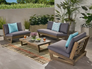 No love Seat   Sherwood Outdoor 2 Seater Acacia Wood Chat Set with Coffee Table by Christopher Knight Home