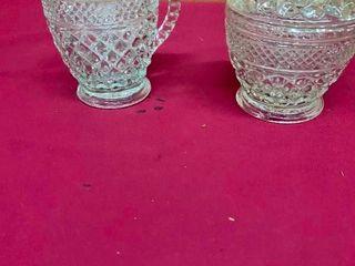 Glass cream and sugar bowls