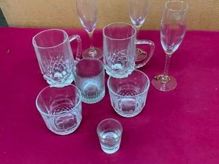 Variety of drinking glasses