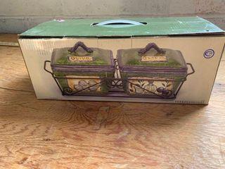 Decorative bowl set with lids