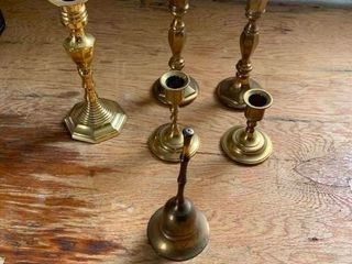 Brass candlestick holders and bell