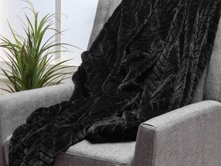 BlACK  Toscana Faux Fur Throw Blanket by Christopher Knight Home