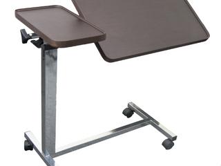 Vaunn Medical Adjustable Overbed Bedside Tilt Table with Wheels  Hospital and Home Use