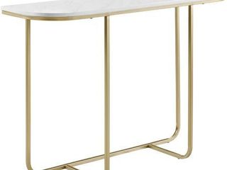 44  Modern Curved Entry Table   White Faux Marble Gold