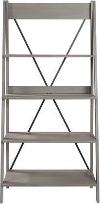 Walker Edison Furniture BS68FRSWGY Solid Wood ladder Bookshelf 44  Grey   68 x 18 25 x 31 in