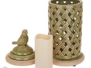 Woven Ceramic Bird Hurricane with Flameless Candle by Valerie Fern Green