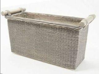 Martha Stewart Faux Wicker 20  Trough Planter Box Grey