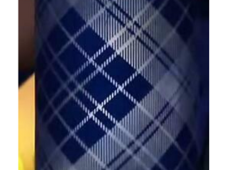 Cobalt   8  Illuminated Frosted Glass Plaid Hurricane with Timer by Valerie