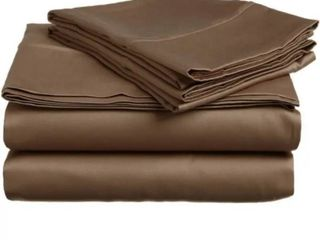 Superior Egyptian Cotton 300 Thread Count Solid Deep Pocket Bed Sheet Set   King   Taupe