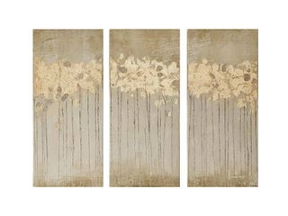 Set of 3  15  x 35  Sandy Forest Gel Coat Canvas with Gold Foil Embellishment Taupe