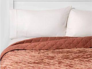 Orange Blush   King  Beaute living Diamond Velvet Quilt Set  Retail 119 99