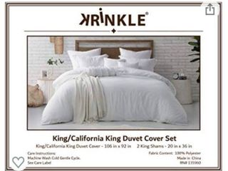 Swift Home Microfiber Washed Crinkle Duvet Cover   Sham  1 Duvet Cover with Zipper Closure   2 Pillow Shams  Premium Hotel Quality Bed Set  Ultra Soft   Hypoallergenic a King Cal King  White