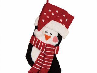 Hooked 3D Penguin Christmas Stocking   Glitzhome