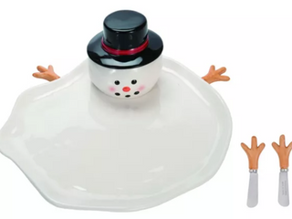 Transpac Dolomite 10 in  White Christmas Melted Snowman Plate with Spreader