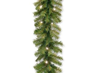 National Tree Norwood Fir Garland with 50 Battery Operated Soft White lED lights in Re Shippable Brown Box  9 Feet by 10 Inch