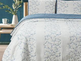 White Blue   King  Beaute living Cotton Embroidery 3 Piece Quilt Set  Retail 104 49