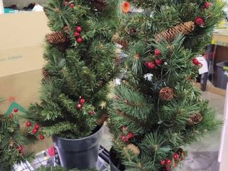 Two 3  Christmas trees  1 Wreath and garland by National Tree Company