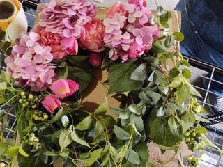 Hydrangea Gina peony and tulip Crescent laurel wreath by Valerie pink