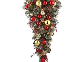 National Tree Company 36 in  Dakota Pine Tear Drop with and 50 Warm White Battery Operated lED lights with Timer