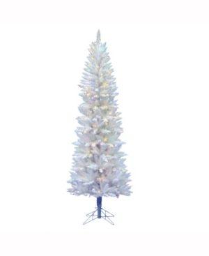 6ft Pre lit Sparkle White Pencil Artificial Tree lED Multicolored   Vickerman