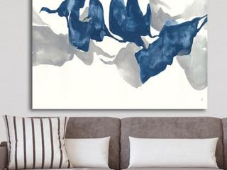 Designart  Gouache Sapphire on Gray  Modern Canvas Wall Art   Blue   40 in  wide x 30 in  high