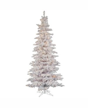 Vickerman Pre lit 6 5  Flocked White Slim Artificial Christmas Tree  Dura lit  Clear lights