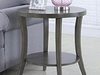 Roundhill Furniture Perth Contemporary Oval Shelf End Table   Grey