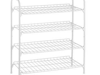 Set of 2   Honey Can Do 4 Tier Wire Shoe and Accessory Shelf Closet Shelf  White