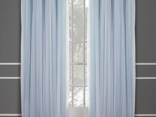 96 x52  Caterina layered Solid Blackout with sheer top curtain panels Aqua   Exclusive Home
