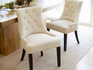 Hayden Tufted Fabric Dining  Accent Chair  Set of 2  by Christopher Knight Home  Retail 280 98 beige