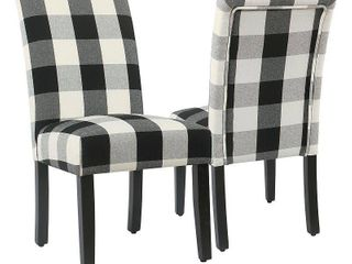 HomePop Black Plaid Parsons Dining Chair  Set of 2    Retail 194 00