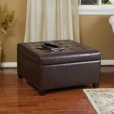 Alexandria contemporary tufted bonded leather brown ottaoman