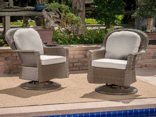 liam Outdoor Wicker Swivel Club Chair with Cushion  Set of 2  by Christopher Knight Home   Retail 521 99