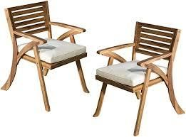 outdoor hermosa wood chairs set of 2 grey finish cream cushion
