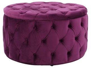 Zelfa Round Tufted Velvet Ottoman by Christopher Knight Home  Retail 151 99