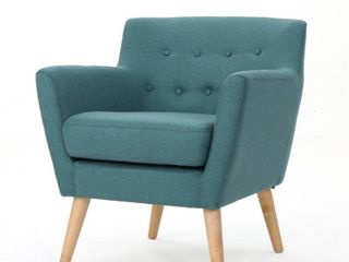 Meena Buttoned Mid Century Modern Fabric Club Chair by Christopher Knight Home  Retail 213 31 teal