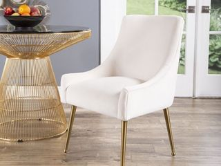 Abbyson Bevie Velvet Dining Chair   Retail 256 99 ivory
