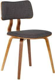 armen living jaguar side chair charcoal fabic and walnut veneer