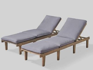 Ariana Outdoor Acacia Wood Chaise lounge with Cushion 1 only