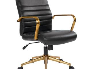 Baldwin Mid Back Faux leather Chair  Retail 205 49 black