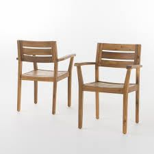 stockton acacia wood dining chairs set of 2 teak finish