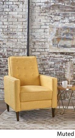 Mervynn Mid century Fabric Recliner chair 1 only muted yellow