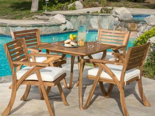 Outdoor Hermosa Acacia Wood Dining chairs only set of 2 teak finish and cream cushions