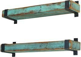 Aqua Metal Wrapped Shelves  Retail 89 49 set of 2