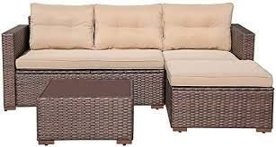 outsunny l shape sectional with glass top table only brown with tan cushions